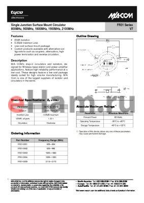 FR31-0009 datasheet - Single Junction Surface Mount Circulator 800MHz, 900MHz, 1800MHz, 1900MHz, 2100MHz