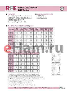 FRU400-30F datasheet - Radial Leaded PPTC FRU Series