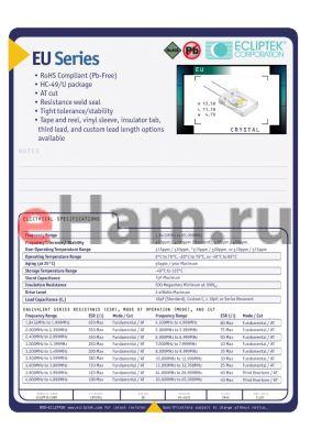 EUAAS-20.000M-L2A datasheet - CRYSTAL