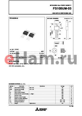 FS100UM-03 datasheet - Nch POWER MOSFET HIGH-SPEED SWITCHING USE
