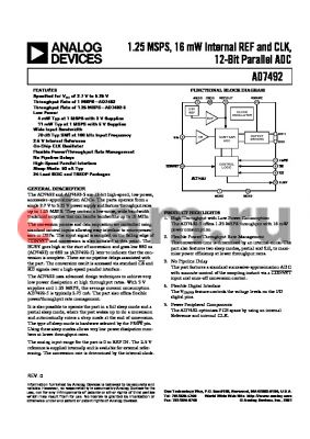 EVAL-CONTROLBRD2 datasheet - 1.25 MSPS, 16 mW Internal REF and CLK, 12-Bit Parallel ADC