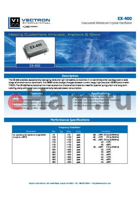 EX-4001-DEA-507 datasheet - Evacuated Miniature Crystal Oscillator