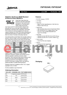 FSPYE234R datasheet - Radiation Hardened, SEGR Resistant N-Channel Power MOSFETs