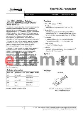 FSS913A0D1 datasheet - 10A, -100V, 0.280 Ohm, Radiation Hardened, SEGR Resistant, P-Channel Power MOSFETs