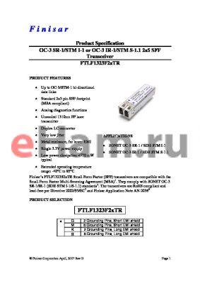FTLF1323F2KTR datasheet - OC-3 SR-1/STM I-1 or OC-3 IR-1/STM S-1.1 2x5 SFF Transceiver