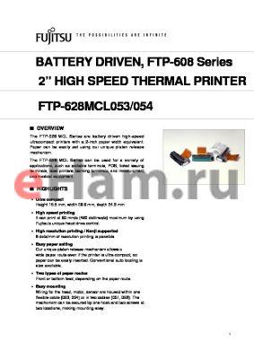 FTP-628MCL054 datasheet - 2 HIGH SPEED THERMAL PRINTER