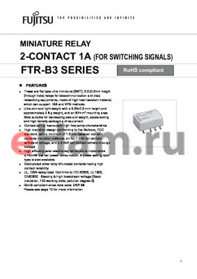 FTR-B3GB024Z-B10 datasheet - MINIATURE RELAY 2-CONTA CT 1A (FOR SWITCHING SIGNALS)