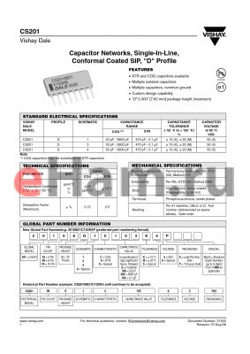 CS20108D1S392KSP datasheet - Capacitor Networks, Single-In-Line,Conformal Coated SIP,