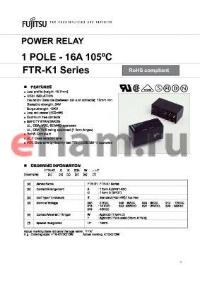 FTR-K1AK018T-HT datasheet - POWER RELAY 1 POLE - 16A 105C