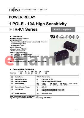 FTR-K1AL012WLBBG datasheet - POWER RELAY 1 POLE - 10A High Sensitivity