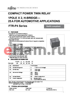 FTR-P4CP009W1 datasheet - COMPACT POWER TWIN RELAY 1POLE X 2, H-BRIDGE - 25 A FOR AUTOMOTIVE APPLICATIONS