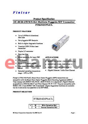 FTRJ1421P1BCL datasheet - OC-48 IR-1/STM S-16.1 Multirate Pluggable SFP Transceiver