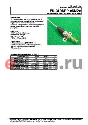FU-318SPP-V2M0 datasheet - PD-TIA MODULE FOR LONG WAVELENGTH BAND