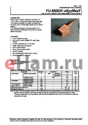 FU-68SDF-W902M87F datasheet - 1.55 um DFB-LD MODULE WITH SINGLEMODE FIBER PIGTAIL