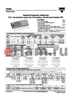 CS20608EX333G330ME datasheet - Resistor/Capacitor Networks ECL Terminators and Line Terminator, Conformal Coated, SIP