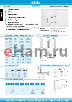 DRA21W102KBTR datasheet - CAPACITORS CERAMIC MULTI-LAYER RADIAL DR