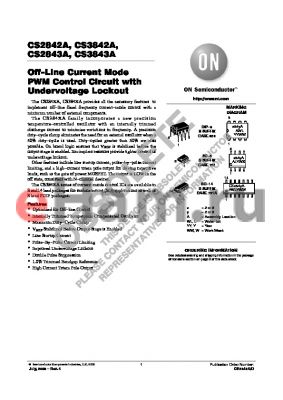 CS3842AGD14 datasheet - Off-Line Current Mode PWM Control Circuit with Undervoltage Lockout