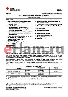 DRV8834RGET datasheet - DUAL BRIDGE STEPPER OR DC MOTOR DRIVER