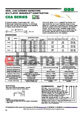 CEA10-102-F050 datasheet - AXIAL LEAD CERAMIC CAPACITORS MULTILAYER CERAGOLDTM CONSTRUCTION