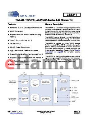 CS5341-DZZR datasheet - 105 dB, 192 kHz, Multi-Bit Audio A/D Converter