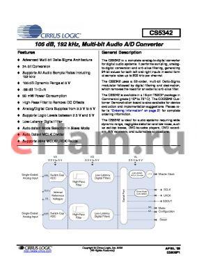 CS5342-CZZ datasheet - 105 dB, 192 kHz, Multi-bit Audio A/D Converter