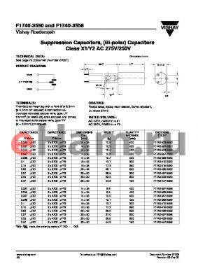 F1740-327-3550 datasheet - Suppression Capacitors, (Bi-polar) Capacitors Class X1/Y2 AC 275V/250V