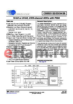CS5524-ASZ datasheet - 16-bit or 24-bit, 2/4/8-channel ADCs with PGIA