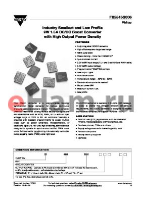 FX5545G0065V7B1 datasheet - Industry Smallest and Low Profile 9W 1.5A DC/DC Boost Converter with High Output Power Density