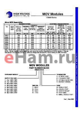 CS811E1 datasheet - MOV Modules