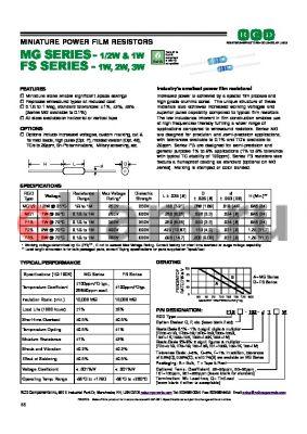 F1SP-1004-FB datasheet - MINIATURE POWER FILM RESISTORS