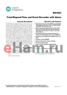 DS1683S+ datasheet - Total-Elapsed-Time and Event Recorder with Alarm