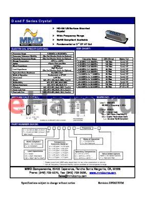 FXXBC3 datasheet - HC-49/US Surface Mounted Crystal