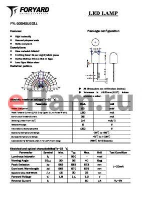 FYL-3004SUGC1L datasheet - LED LAMP