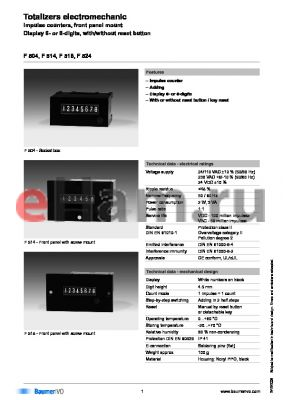 F524640DA9C datasheet - Totalizers electromechanic