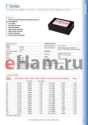 F60 datasheet - 10 WATTS SINGLE & DUAL OUTPUT DC/DC INDUSTRIAL