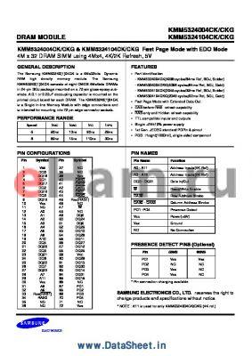 KMM5324004CK datasheet - 4M x 32 DRAM SIMM using 4Mx4, 4K/2K Refresh, 5V