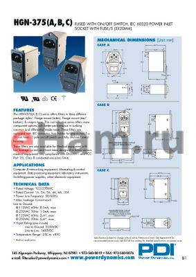 HGN-375C01W-20-2C datasheet - FUSED WITH ON/OFF SWITCH, IEC 60320 POWER INLET SOCKET WITH FUSE/S (5X20MM)