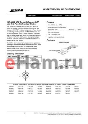 HGT1S7N60C3DS datasheet - 14A, 600V, UFS Series N-Channel IGBT with Anti-Parallel Hyperfast Diodes