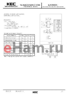 KN3906S datasheet - EPITAXIAL PLANAR PNP TRANSISTOR (GENERAL PURPOSE, SWITCHING)