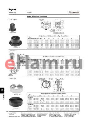 KN500BA1/8 datasheet - Knobs, Machined Aluminum