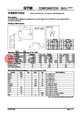 GSMBTA92 datasheet - PNP EPITAXIAL PLANAR TRANSISTOR