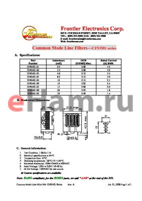 CFS3501-05 datasheet - Common Mode Line Filters