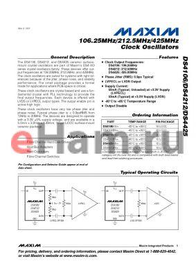 DS4425AN+ datasheet - 106.25MHz/212.5MHz/425MHz Clock Oscillators