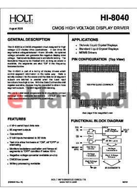 HI-8040Q datasheet - CMOS HIGH VOLTAGE DISPLAY DRIVER