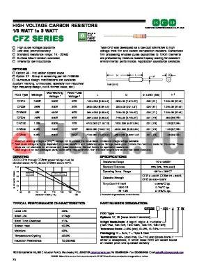 CFZ25-103-GB datasheet - HIGH VOLTAGE CARBON RESISTORS 1/8 WATT to 3 WATT
