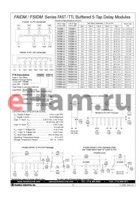 FAIDM-9 datasheet - FAST / TTL Buffered 5-Tap Delay Modules