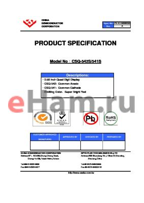 CSQ-542S datasheet - 0.56 Inch Quad Digit Display