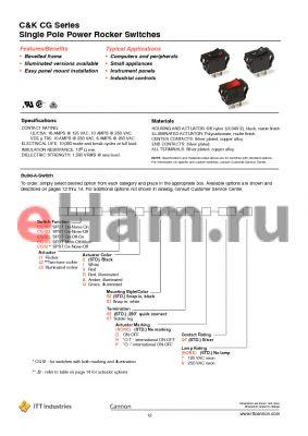 CG105J12S105DF8 datasheet - Single Pole Power Rocker Switches