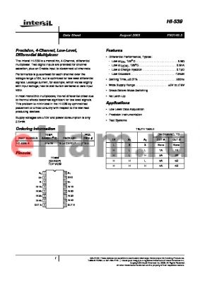 HI1-0539-5 datasheet - Precision, 4-Channel, Low-Level, Differential Multiplexer