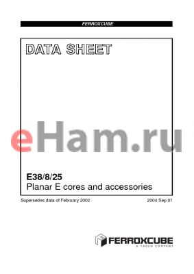 E38/8/25-3F3-A400-P datasheet - Planar E cores and accessories